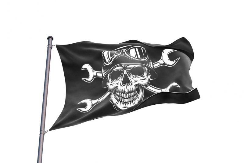 Jolly Roger Motorcycle Flag - Pirate Flag - Sons of Pirate